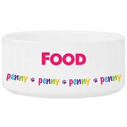 Personalized Colorful Name Pet Food Bowl