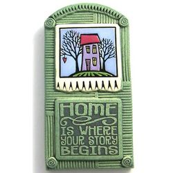 Home is Where Your Story Begins Ceramic Wall Plaque in Sage