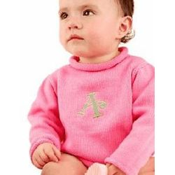 Girls Roll Neck Monogrammed Sweater