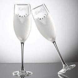 Bride & Groom Swarovski Crystal Flutes