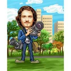 Photographer Caricature Art Print