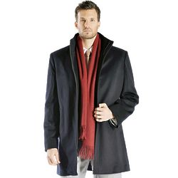 Men's Straight Collar Zip Cashmere Coat