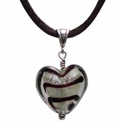 Brown and Silver Murano Glass Heart Pendant