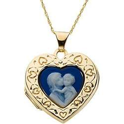 14K Gold Mother and Child Heart Cameo Locket