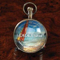 Leadership Hemisphere Desk Clock and Magnifier