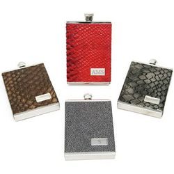 Italian Leather Personalized Flask