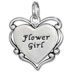 Sterling Silver Flower Girl Heart Charm with Scroll Edging