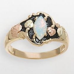 10K Gold Antiqued Opal Ring