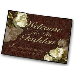 Personalized Burgundy Magnolia Welcome Mat