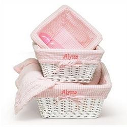3 Piece Pink Nursery Basket Set