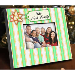 Personalized Green Stripes Holiday Picture Frame