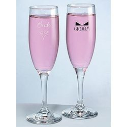 Heart & Bow Tie Bride and Groom Flutes