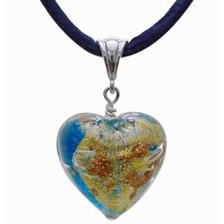 Blue and Gold Murano Glass Heart Pendant