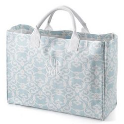 Blue and White Damask Tote Bag