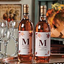 Personalized Monogram Fall Wine Bottle Labels