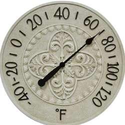 Blanc Fleur de Lis Wall Thermometer
