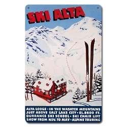 Ski Alta Metal Sign