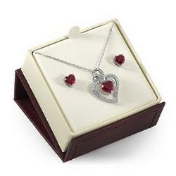 Sterling Silver Lab-Created Ruby Heart Gift Set