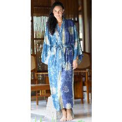 Blue Baliku Batik Robe