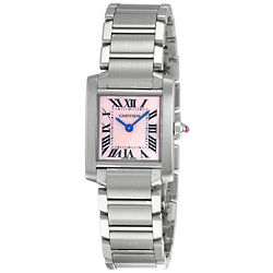 Lady's Tank Francaise Steel Pink Mother-of-Pearl Watch