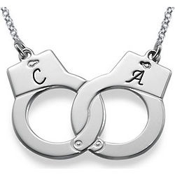 Personalized Handcuff Necklace in Sterling Silver