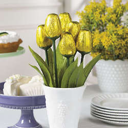 Yellow Foil-Wrapped Chocolate Tulips