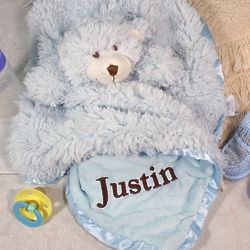 Personalized Teddy Bear Cuddle Bud Blankie in Blue