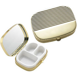 Personalized Ribbed Gold Cover Pill Box