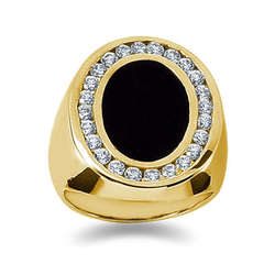 1.00 ctw Men's Diamond Ring in 14K Yellow Gold