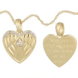 Diamond & Two-Tone Sterling Silver Memorial Heart Pendant