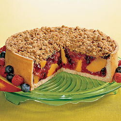 """The Works"" Peach and Berry Deep Dish Pie"