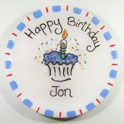 "7.5"" Happy Birthday Cupcake Plate for Boy"