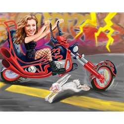 Hell on Wheels Caricature with Red Motorcycle Art Print