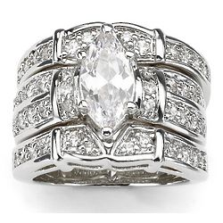 Marquise-Cut DiamonUltra Cubic Zirconia Wedding Ring Set