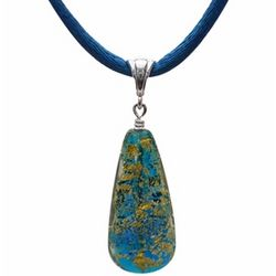 Blue and Gold Murano Glass Teardrop Pendant