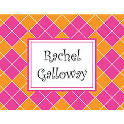 Pink and Orange Argyle Personalized Note Cards