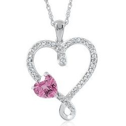 Pink and White Sapphire Pendant in Sterling Silver
