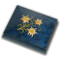 Blue Music Box with Floral Theme