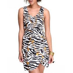Women's Animal Print and Chain Belt Dress