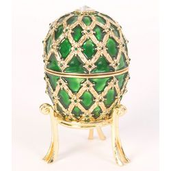 Faberge Style Octopussy Emerald Egg Trinket Box