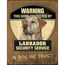 Yellow Lab Home Security Patrol Sign
