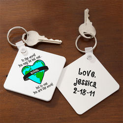 Personalized You Are My World Key Ring