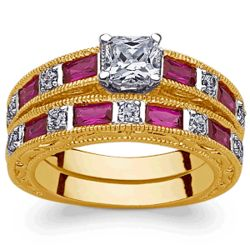 Goldtone 2-Piece Princess Solitaire and Faux Ruby Baguette Ring