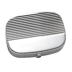 Personalized Ribbed Silver Cover Pill Box
