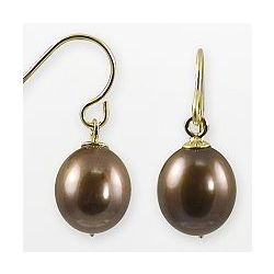 14k Gold Freshwater Chocolate-Dyed Cultured Pearl Drop Earrings