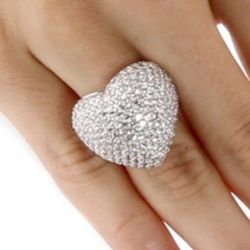 Silvertone Metal DiamonUltra Cubic Zirconia Pave Heart Ring