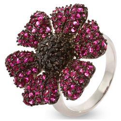 Sparkling Magenta Flower Sterling Silver CZ Cocktail Ring