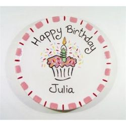"7.5"" Happy Birthday Cupcake Plate for Girl"