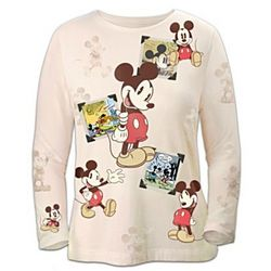 Disney Retro Mickey Mouse Sepia-Toned Women's Shirt