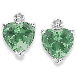 Sterling Silver Cubic Zirconia May Birthstone Heart Earrings